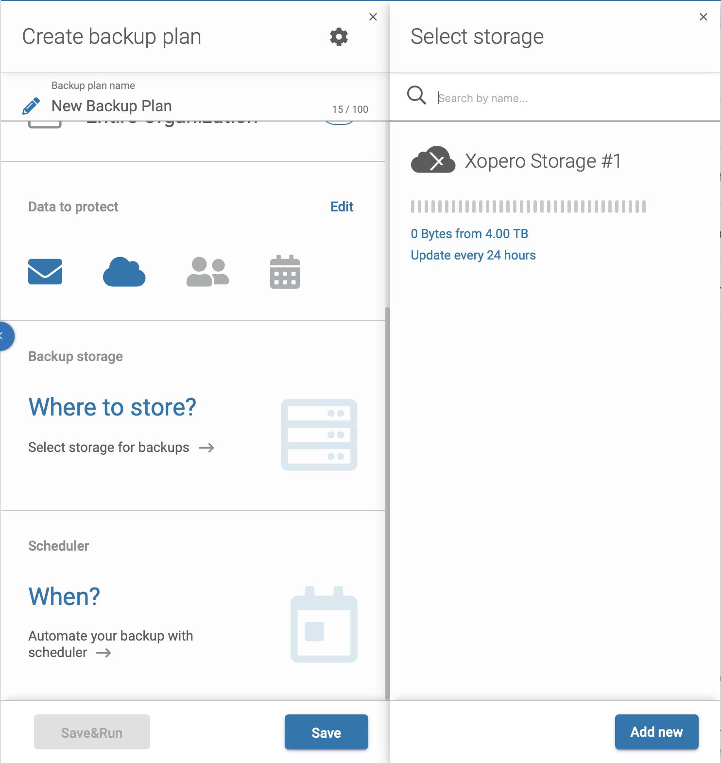 Microsoft 365 backup plan - select backup storage