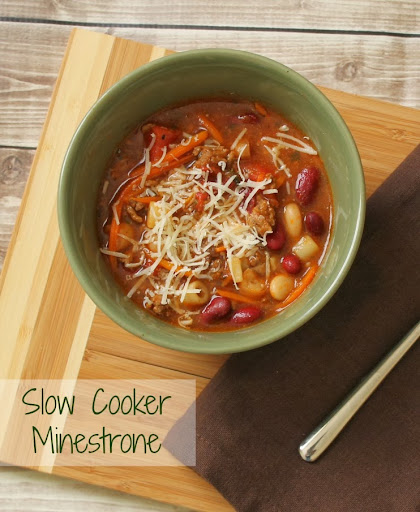 Slow Cooker Minestrone Recipe - this minestrone is easy, and made even easier by cooking in the slow cooker! Filled with beans, veggies, and ground beef it's warm and filling.
