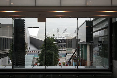 London 2012 Olympic stadiums by the Westfield Stratford City shopping center in England
