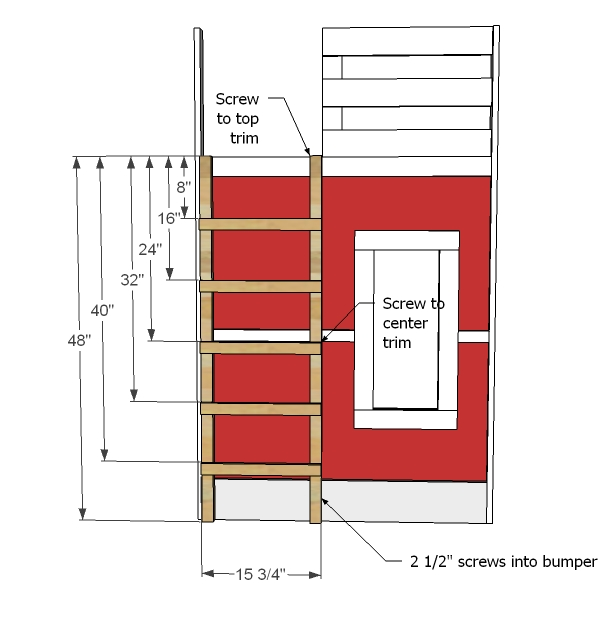 Spectacular Build ladder as shown and attach to trim with screws or bolts