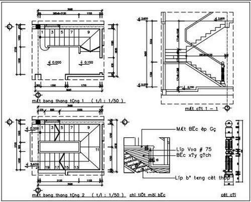 Mặt bằng mặt cắt cầu thang tầng 1 và tầng 2