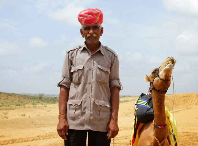 Camel Mahout and his camel at Ossiyan, Rajasthan