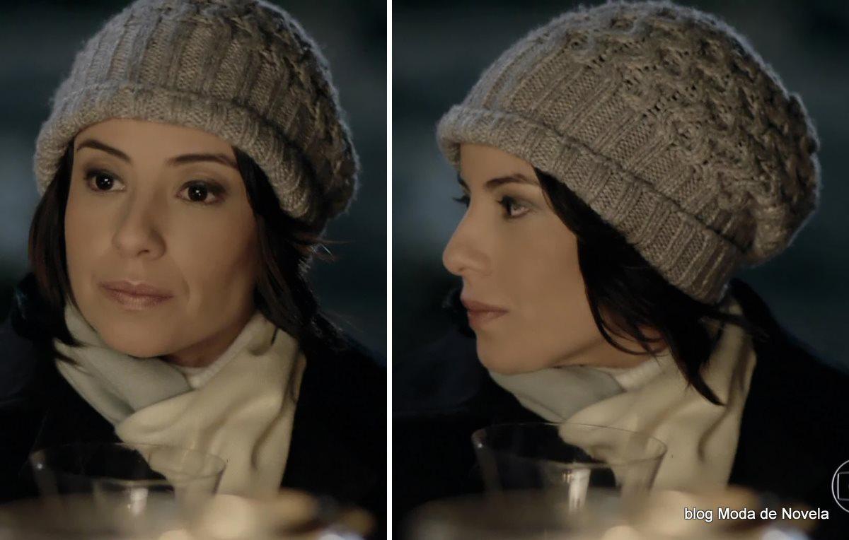 moda da novela Império - look da Maria Clara com gorro de tricô dia 26 de julho