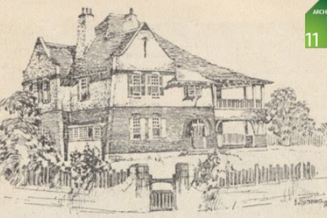 Capper House, home of Architect E. Jeaffreson Jackson. Drawing by BJ Waterhouse