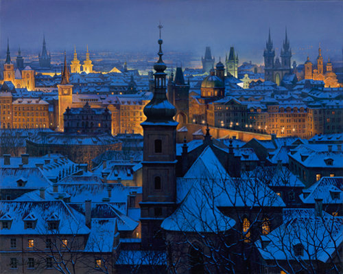 The Church, Heralding the Message of Repentance and Remission of Sins - 'An Evening in Prague' - by Alexei Butirskir, 21st Century