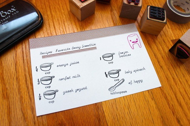 make your own recipe card using rubber stamps, ink and washi tape
