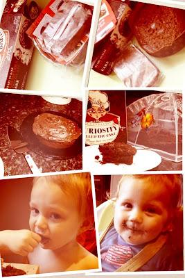 Blake and Maegan enjoying my Half-baked cake review, scrumptious chocolate!