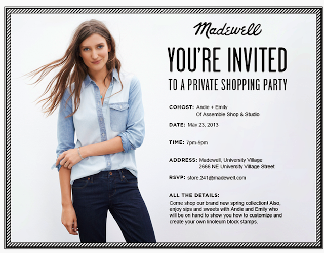 invitation to madewell stamping party and shopping event in Seattle
