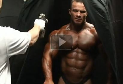 Bodybuilder Ronny Rockel Putting on Tan