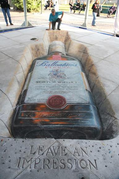 Ejemplos de publicidad 3d en el piso - Ballantine's