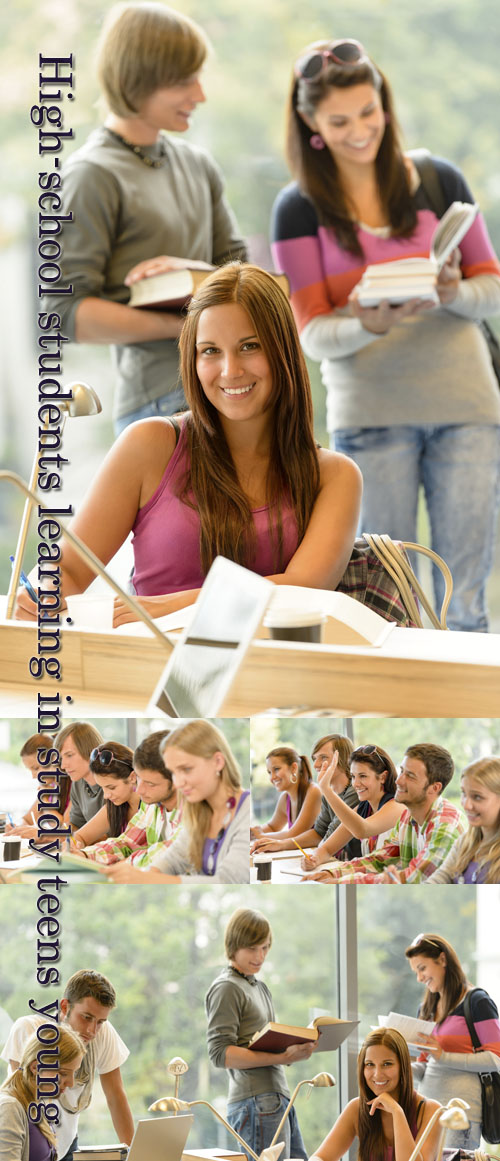 Stock Photo: High-school students learning in study teens young