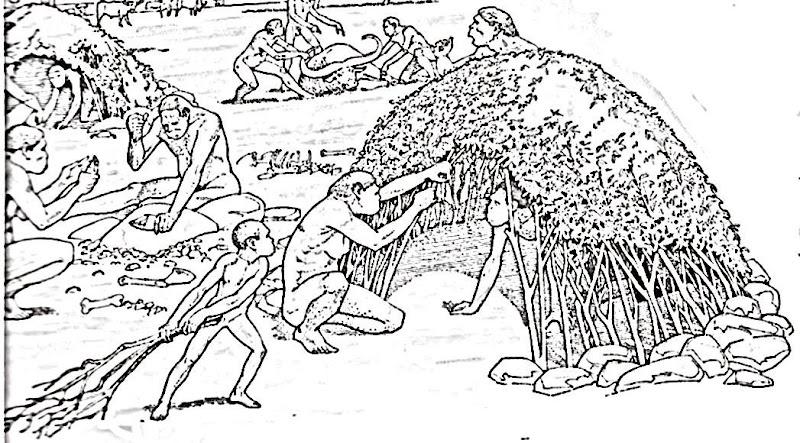 Neandertales haciendo casa