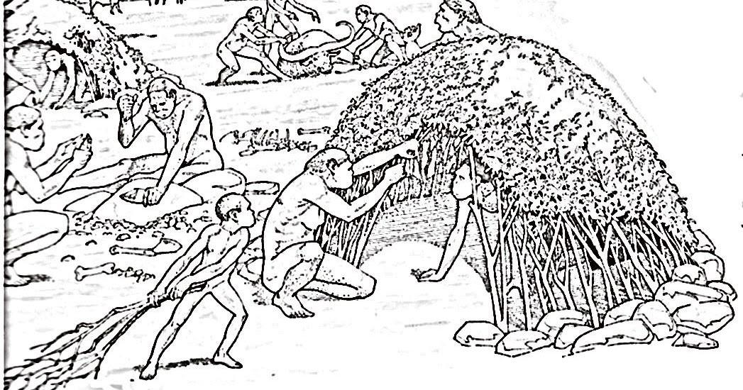 Dibujos De Prehistoria Para Ninos Para Colorear: Pinto Dibujos: Casa Prehistórica Para Colorear