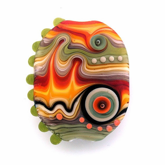 Rainbow Lampwork Focal Bead by Michal Silberberg