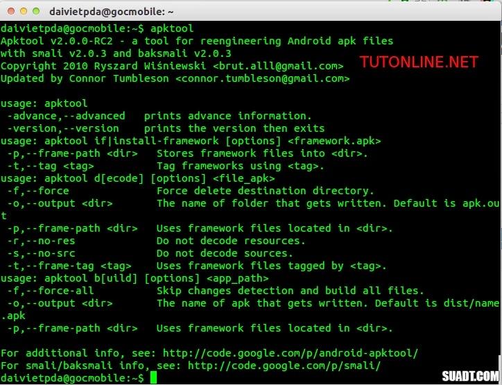 Hướng dẫn cài đặt apktool trên ubuntu 14.04