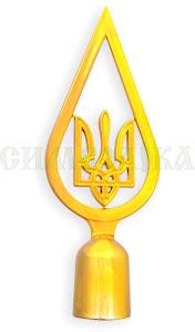Навершя до прапору тризуб (капля) тип 1 золотий