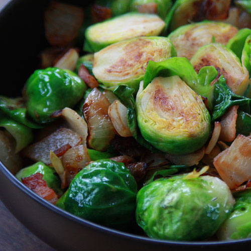 Pan Roasted Brussels Sprouts with Bacon and Onions - Healthy Side Dish ...