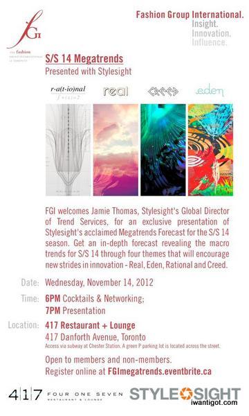 FGI & Stylesight present S|S 14 Megatrends - November 14, 2012