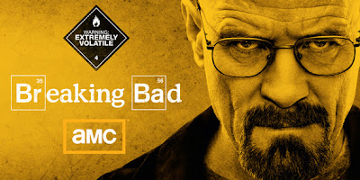 Walt from Breaking Bad. TEXT: Warning: Extremely Volatile. TEXT: Breaking Bad.