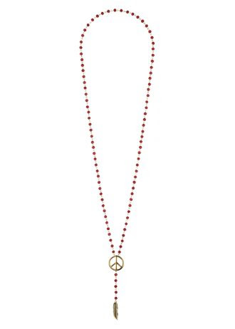 Matalan Red Bead Necklace With Peace Sign And Leaf Drop