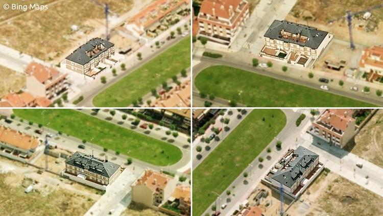proyecto edificio viviendas vistas aereas
