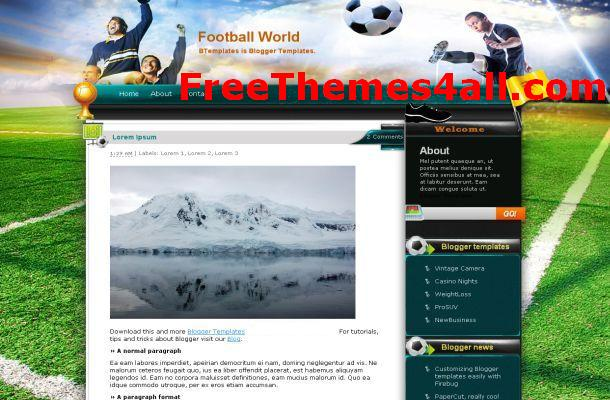 Free Blogger Soccer Team Theme Template