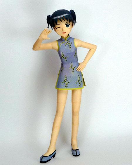 Kyoko-chan Paper Model Cheongsam
