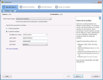 Convertir máquina física a virtual VMware ESXi con VMware vCenter Converter Standalone