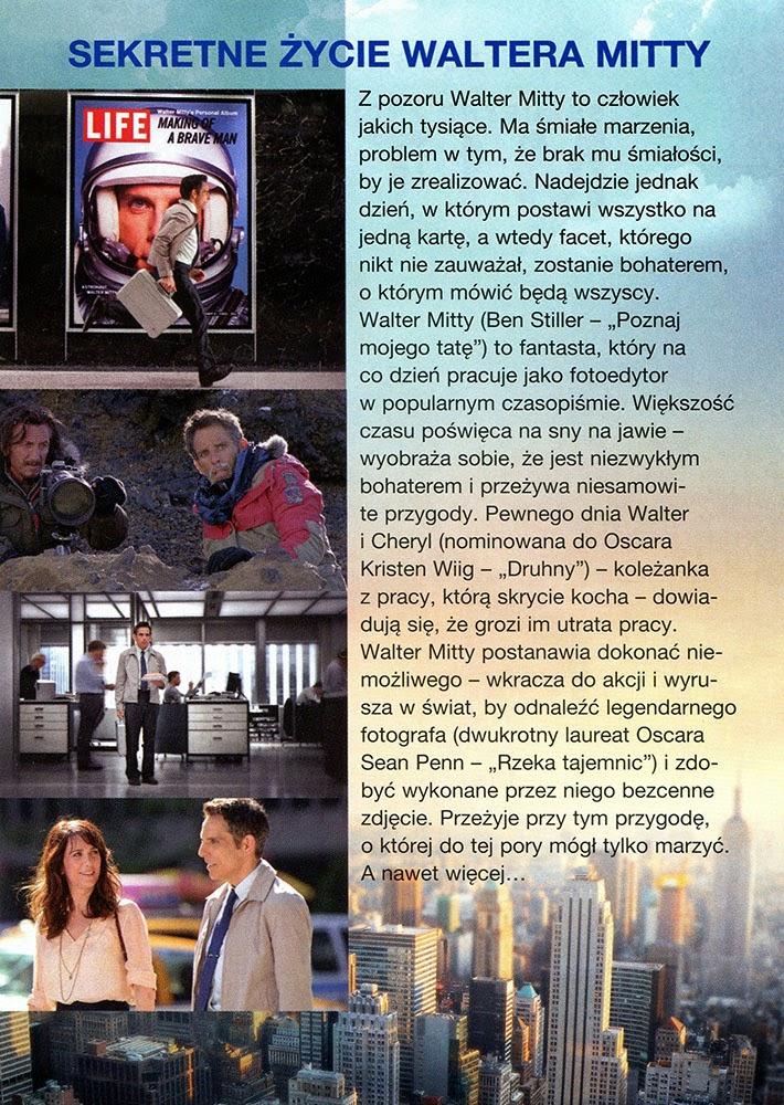 Ulotka filmu 'Sekretne Życie Waltera Mitty (tył)'