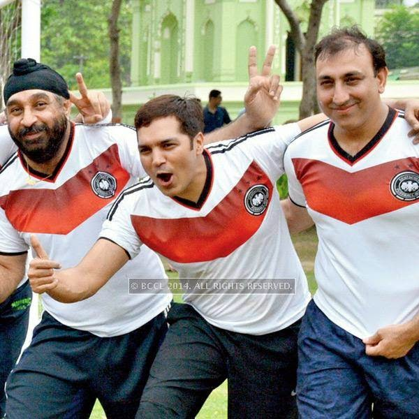 Jaspreet Bagga, Ashish and Rakesh Ladhani during a football match between Germany XI and Argentina XI in Lucknow.