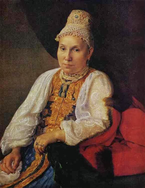 Alexei Venetsianov - Portrait of the Merchant's Wife Obraztsova