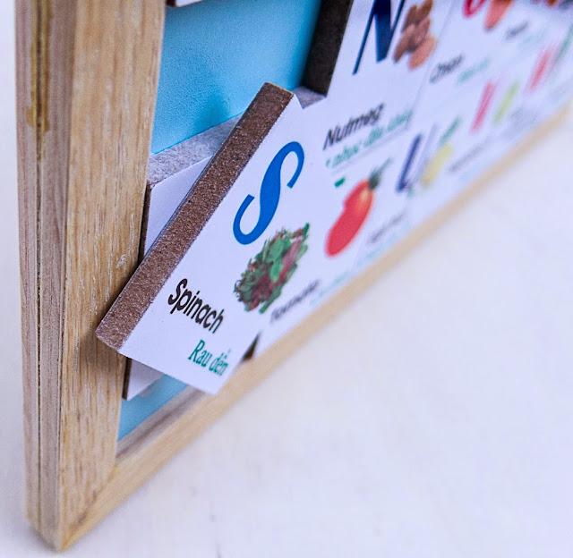 Bộ Alphabet chữ cái chủ đề rau củ được làm từ chất liệu gỗ ép