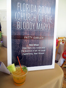 Portland Monthly's Country Brunch 2013, Bloody Mary Smackdown, Florida Room (Church of the Bloody Mary) by Patty Earley concocted the Holy Ghost with Clear Mary mix that was filtered and garnished with honeydew or cantaloupe for a citrusy take on a Bloody Mary