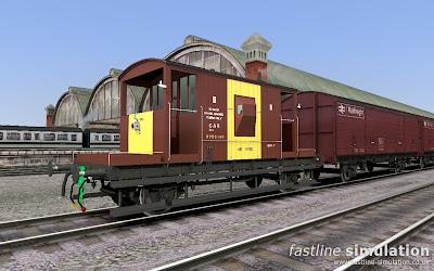Fastline Simulation: Dia 1/507 dual piped Brake van for RailWorks in Bauxite and Yellow livery.