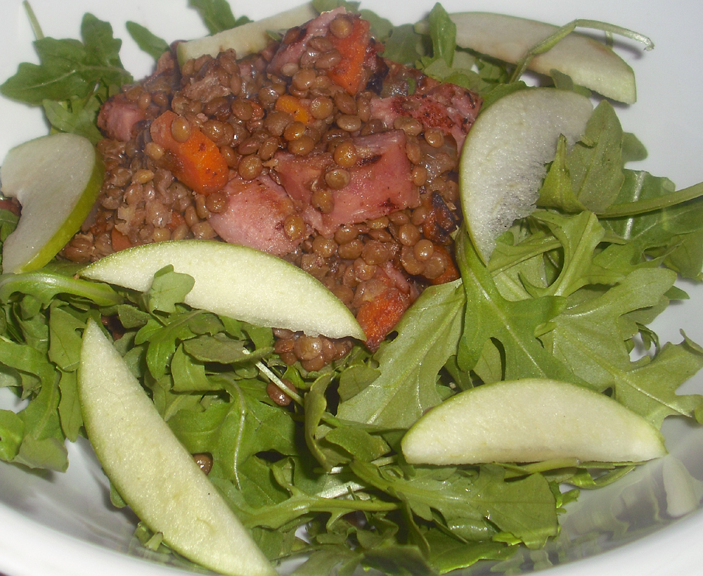 Chicken Sausage Salad w/ Lentils and Green Apple
