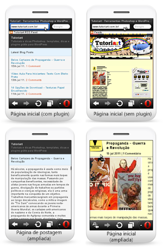Exemplo do uso do plugin MobilePress no Tutoriart