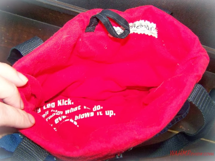 The inside is lined with an upcycled t-shirt and makes it easy to find what you are looking for inside the purse.