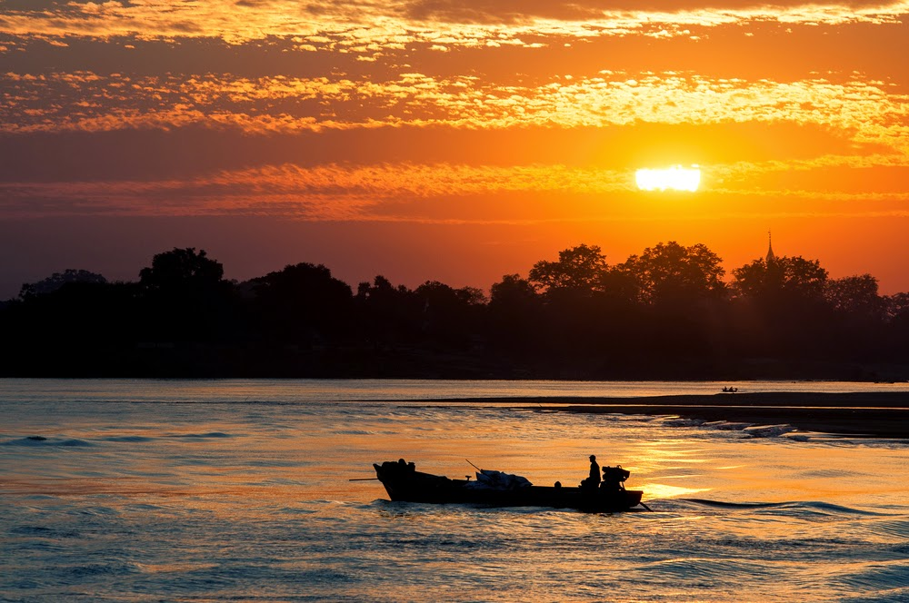 Sunset in Irrawaddy river, Bagan, Myanmar