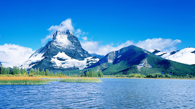 Lush Green Cloud Mountain Sky Lake Full HD Nature Background Wallpaper for Laptop Widescreen