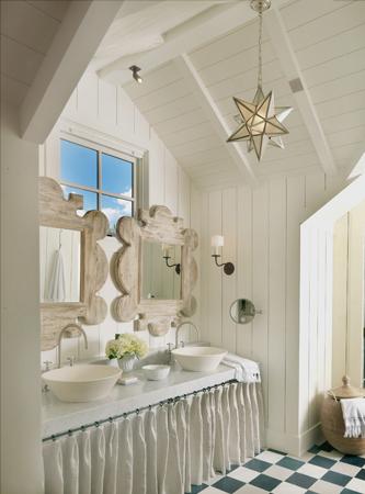 Perfect seaside bathroom  love those mirrors M Elle. Beach house chic   Enchanted BlogEnchanted Blog