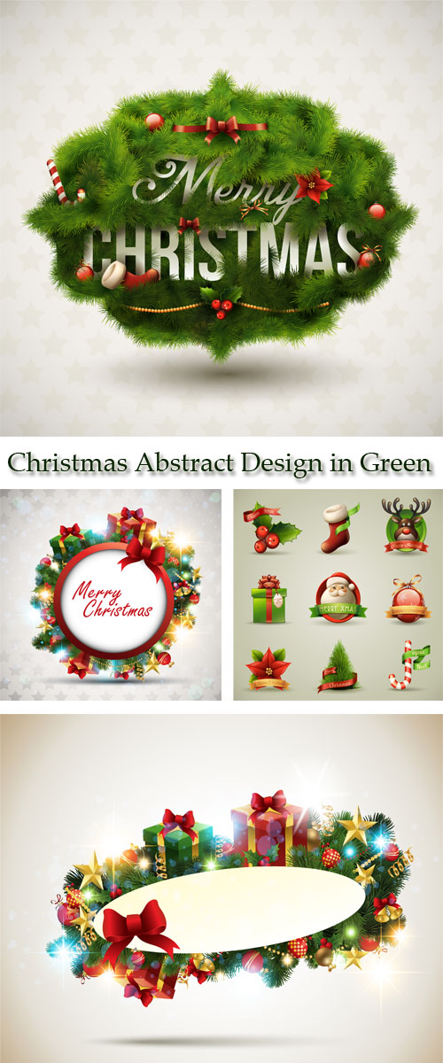 Stock: Christmas Abstract Design in Green