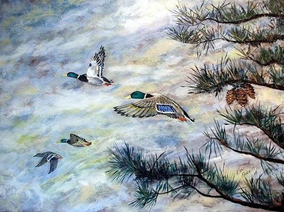 """Mallards IV"" by artist Ken Farris. 30x40 Gallery Wrap. Acrylic. $495"