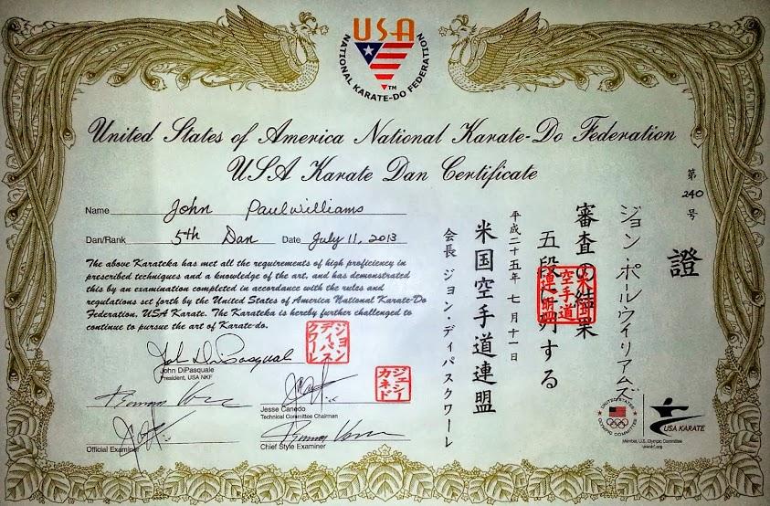 Godan Certificate USA Karate