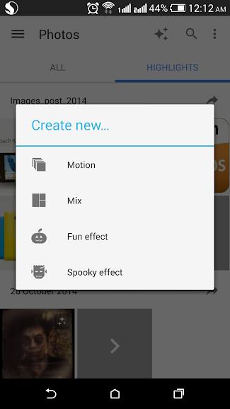 Giao diện tạo hiệu ứng ảnh Halloween bằng ứng dụng Google+ trên điện thoại Android