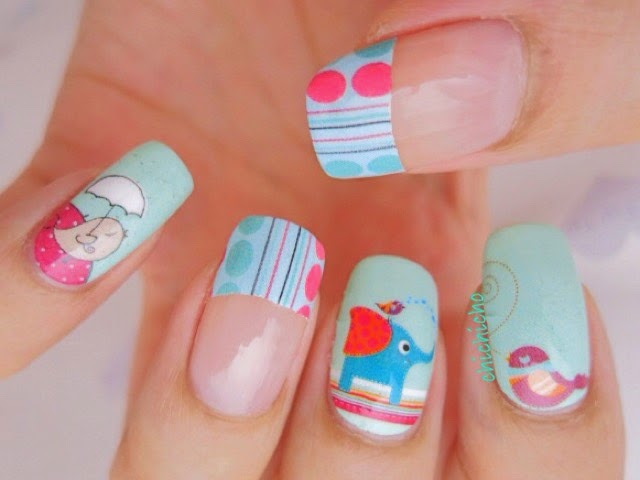 Birds and Elephant Nail Wrap