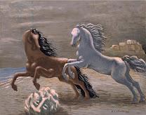 chirico, horses, seaside, 1928, animals, blind, head, passion, story