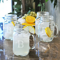 Personalized Glass Mason Style Drinking Jars - Set of 4