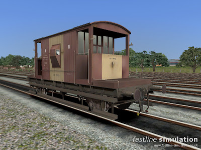 Fastline Simulation: Dia. 1/507 brake van lettered CAR for Railworks in weathered and worn bauxite and yellow livery.