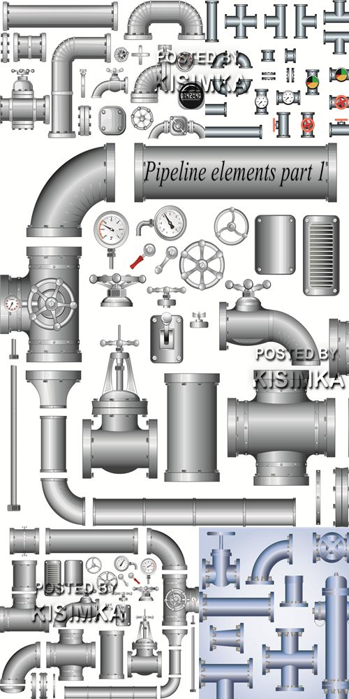Stock vector: Pipeline elements part 1