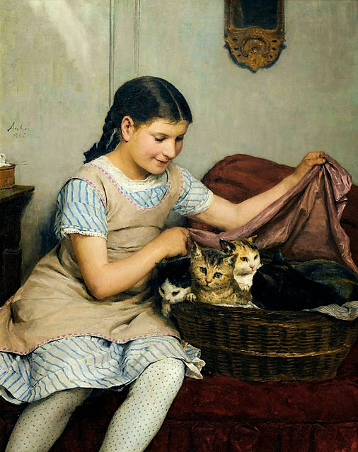 Albert Anker - Girl with Kittens in Basket